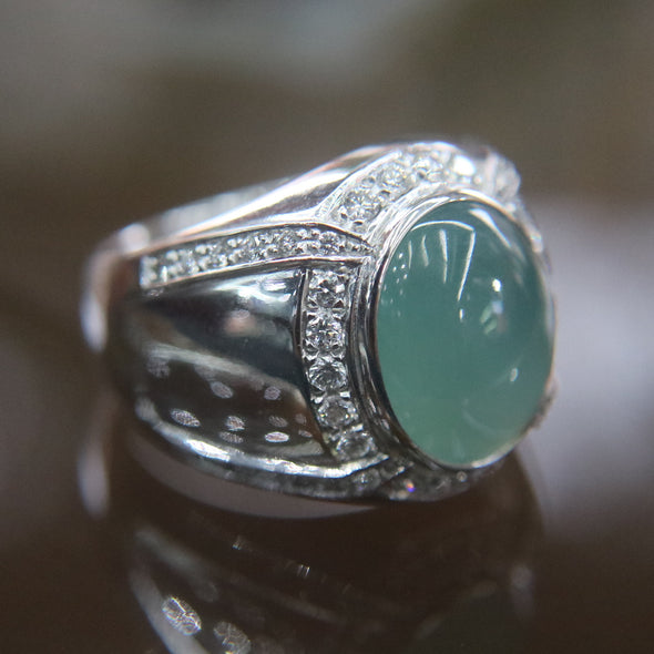 Type A Green Burmese Icy Jade Jadeite ring in 18k white gold & natural diamonds - 12.07g US Size 8