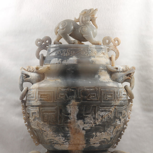 Rare Antique Natural Nephrite Vase