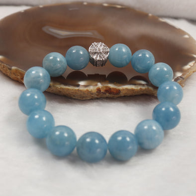 Aquamarine Beads Feng Shui Calming Bracelet Calming & Stress Reduction 48.23g 14 beads each 13.3mm