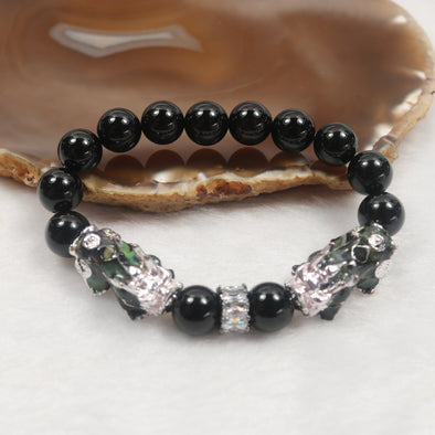 Wealth Attractor - Natural Onyx & colour changing pixiu Beads Bracelet