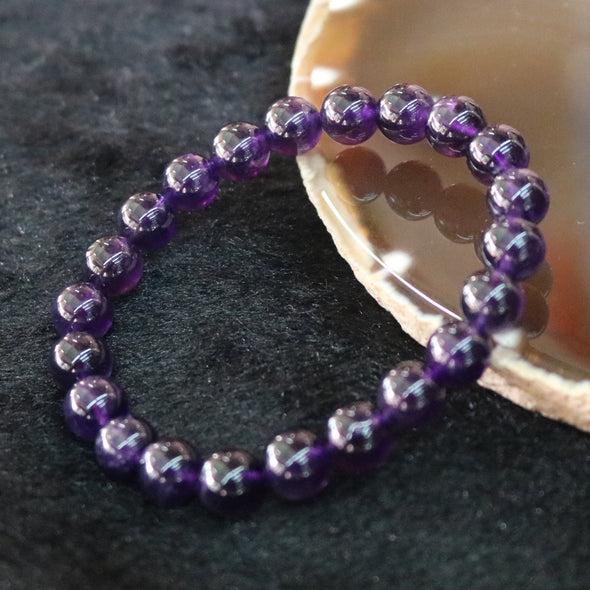 Small Size Uruguay Amethyst Beads Bracelet - 20.14g 8.8mm/bead 24 beads