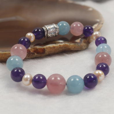 876 Love and Peace IV - Feng Shui Rose Quartz, Amethyst, Pearls & Aquamarine Beads Bracelet