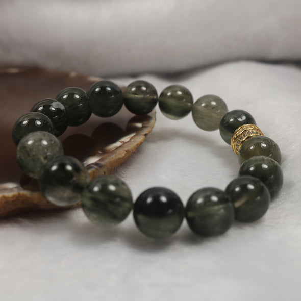Green Rutilated Quartz Beads Feng Shui Healing Health Bracelet - 46.88g 12.8mm/bead 16 beads