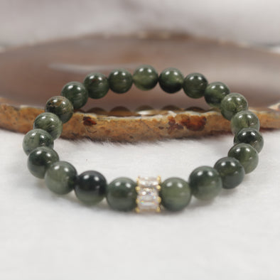 Green Rutilated Quartz Beads Feng Shui Bracelet - 23.49g 9.2mm/bead 21 beads