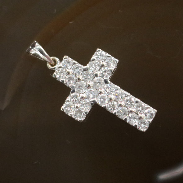 Natural Diamond Cross set in 18k White Gold - 3.15g L20.5 W13.8 D3.5mm