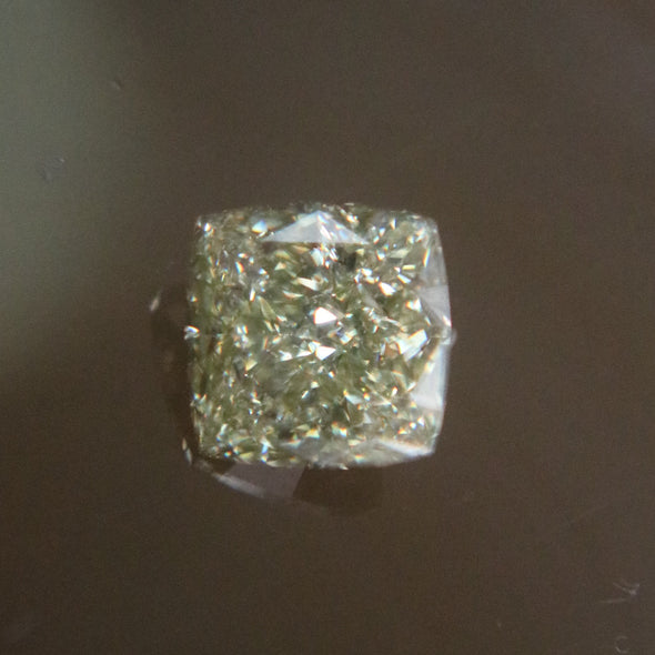 Natural Faceted Cushion Cut Fancy Grayish Yellowish Green Diamond - 1.17 cts
