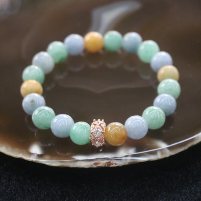 Type A Burmese Jade Jadeite Mixed Colours Beads Bracelet - 29.32g 19.1mm/bead 20 Beads