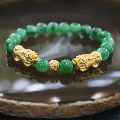 Type A Burmese Jade Jadeite Beads Bracelet with 24k Gold Pixiu and Ball - 14.92g 7.6mm/bead 17 beads