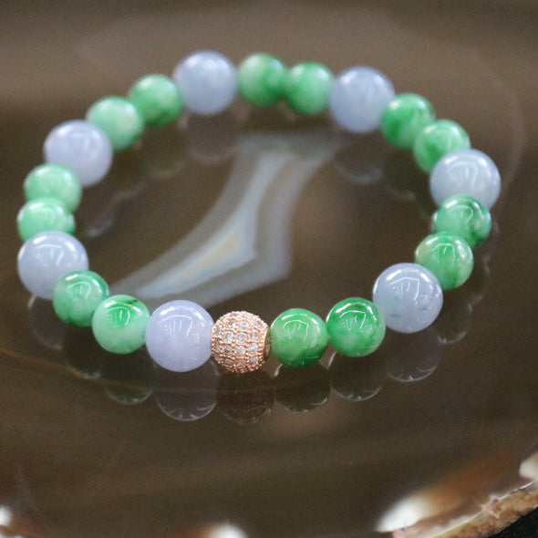 Type A Burmese Jade Jadeite Lavender and Green Beads Bracelet - 20.6g