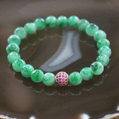 Type A Burmese Jade Jadeite Beads Bracelet -17.31g 7.6mm/bead 22 beads