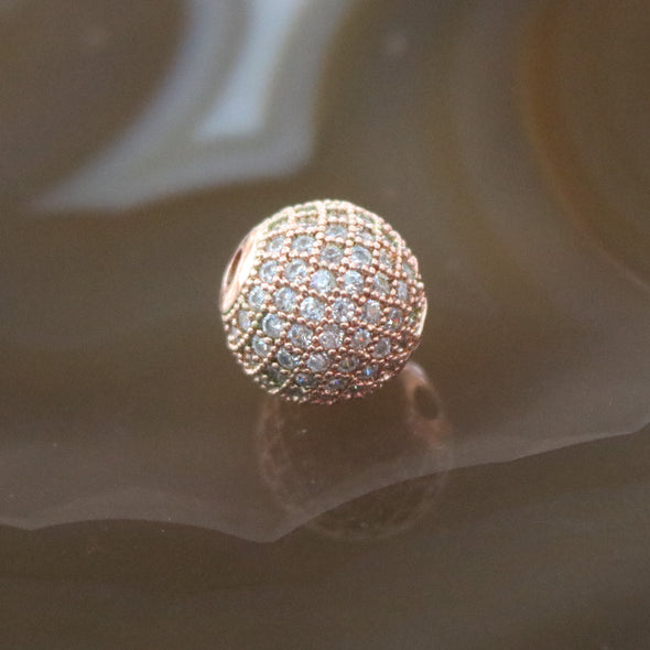 Rose Gold Plated Copper Crystal Disco Ball Charm
