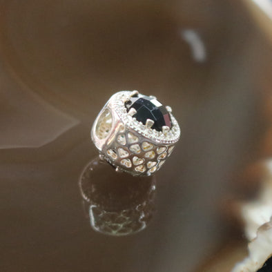 Sliver Plated Copper Zirconia Onyx Charm