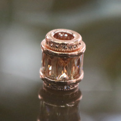Rose Gold Plated Copper Champagne Crystal Charm