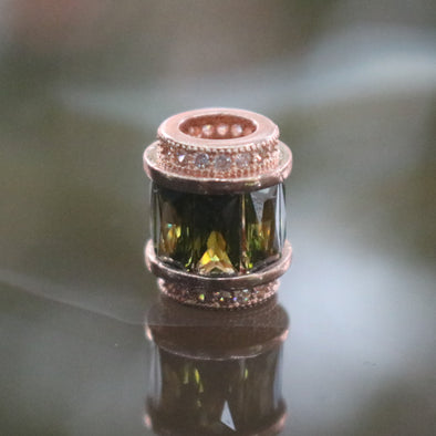 Rose Gold Plated Copper Green Crystal Charm
