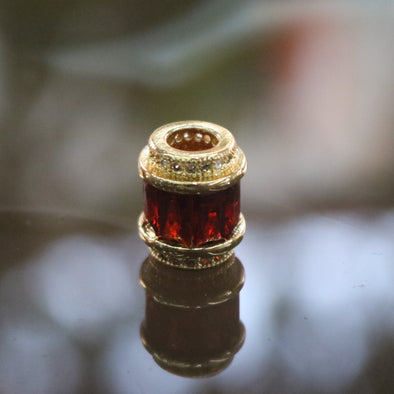 Gold Plated Copper Red Crystal Charm