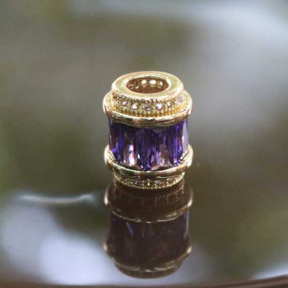 Gold Plated Copper Purple Crystal Charm