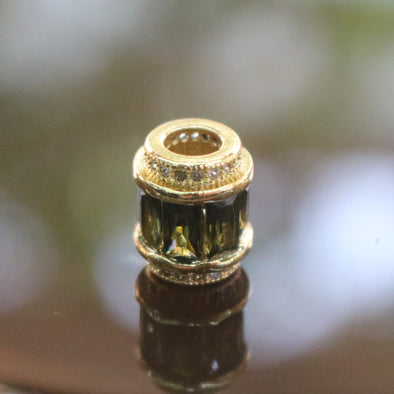 Gold Plated Copper Green Crystal Charm