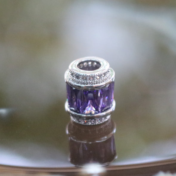 Sliver Plated Copper Purple Crystal Charm