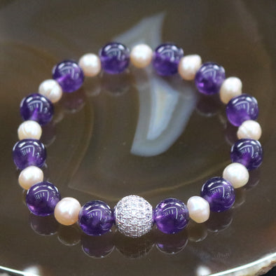 Love and Peace II - Feng Shui Amethyst & Pearl Beads Bracelet