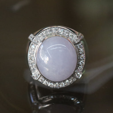 Type A Lavender Burmese Icy Jade Jadeite ring in 18k white gold & natural diamonds