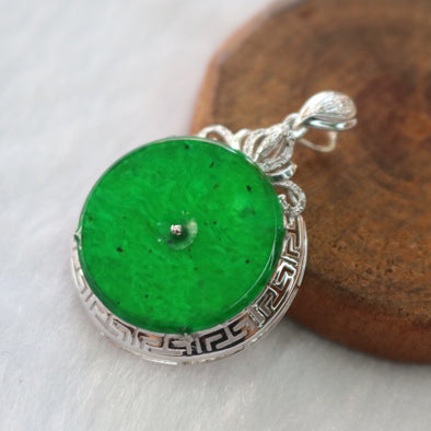 Type A Burmese Icy Jade Jadeite 18k White Gold with Diamonds Ping An Kou Pendant