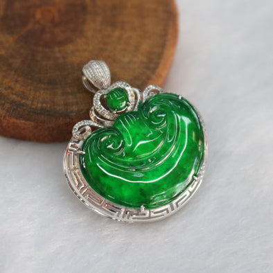 Type A Burmese Icy Jade Jadeite 18k White Gold with Diamonds Ruyi Pendant