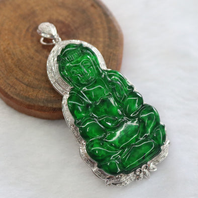 Type A Burmese Jade Jadeite 18k White Gold with Diamonds Hua Qing Guan Yin Pendant