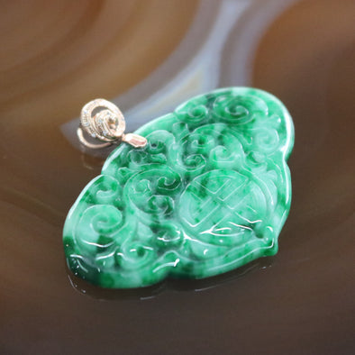 Type A Burmese Jade Jadeite Chinese Carving Pendant In 18k Rose Gold - 7.46g L40.3 W26.5 D3.9mm