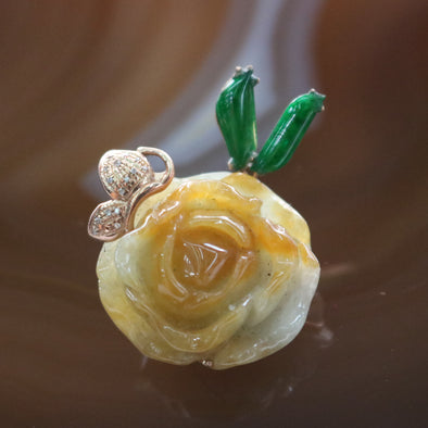 Type A Burmese Jade Jadeite Huang Fei Peony Flower in 18k Rose Gold with Natural Diamonds - 8.33g L21.1 W29.9 D13.3mm