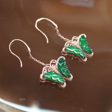 Type A Burmese Jade Jadeite 18k Rose Gold with Diamonds Butterfly Feng Shui Earrings