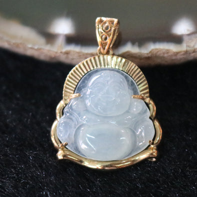 Icy Type A Burmese Jadeite Milo Buddha Pendant In 18k Yellow Gold with Natural Diamonds - 2.75g L18.9 W26.0 D5.2mm