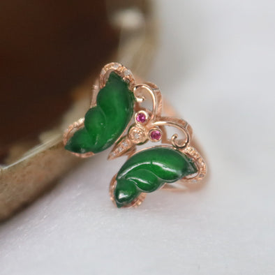 Type A Green Burmese Icy Butterfly Jade Jadeite ring in 18k rose gold & natural diamonds
