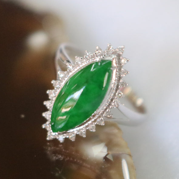 Type A Green Burmese jadeite ring in 18k white gold & natural diamonds