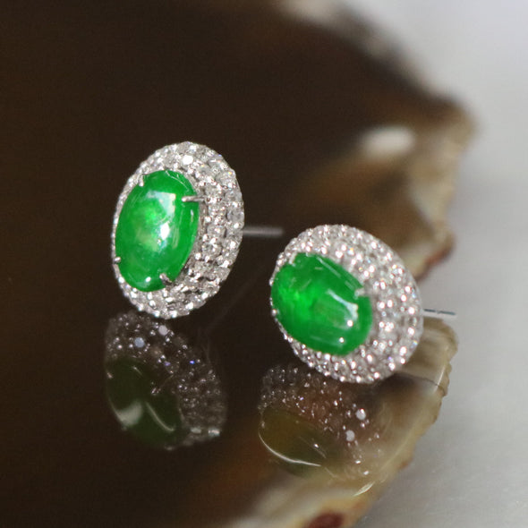 Type A Burmese Icy Jade Jadeite 18k White Gold with Diamonds Feng Shui earrings