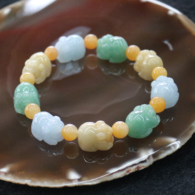 Type A Burmese Multi colour Pig Jade Jadeite Beads Bracelet