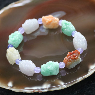 Type A Burmese Multi colour Dragon Tortoise Jade Jadeite Beads Bracelet