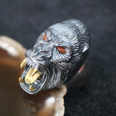 Limited Edition Customised 925 Sliver Gorilla Ring - US 11