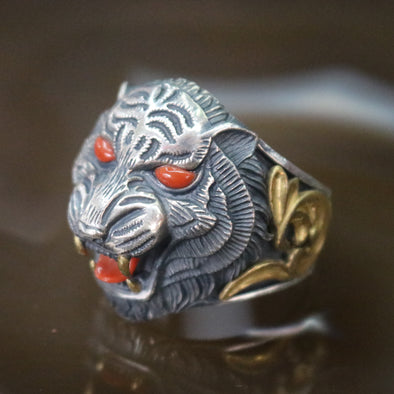 Limited Edition Customised 925 Sliver Tiger Ring - US 10.5