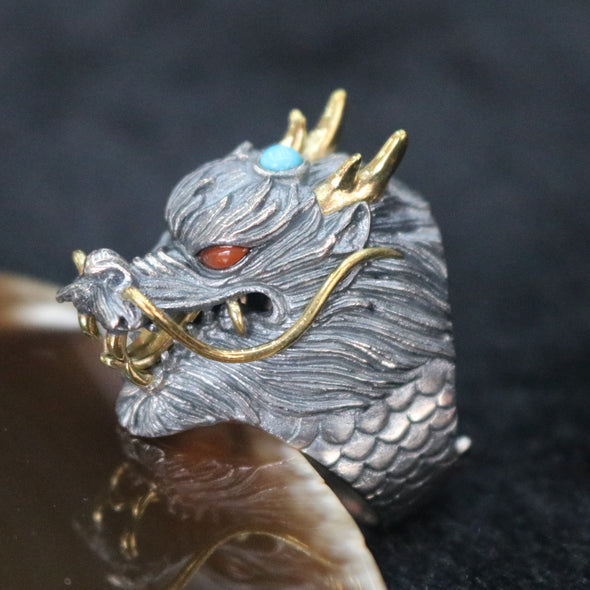 Limited Edition Customised 925 Sliver Dragon Ring - US 10