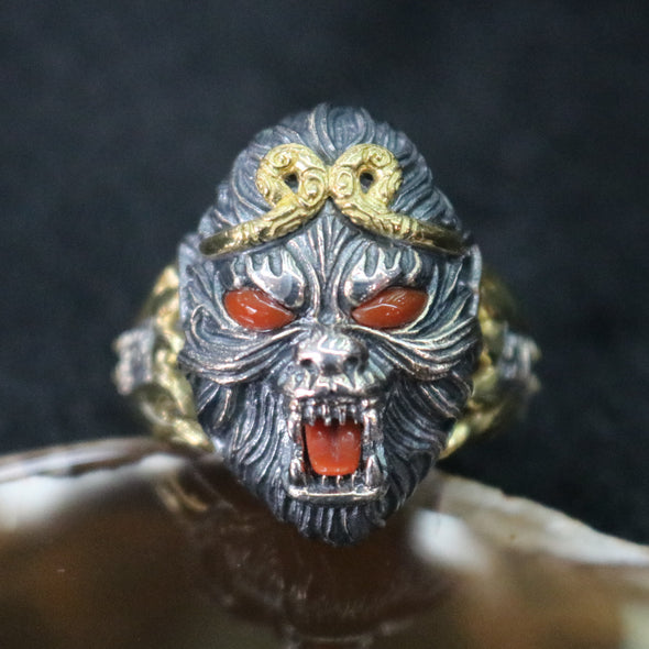 Limited Edition Customised 925 Sliver Monkey King aka Sun Wukong Ring - US 8.5