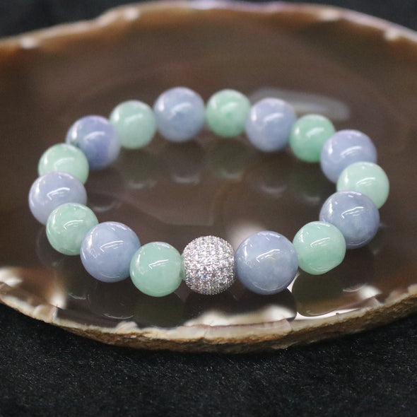 Type A Burmese Jade Jadeite Lavender and Green Beads Bracelet - 53.81g 16 beads