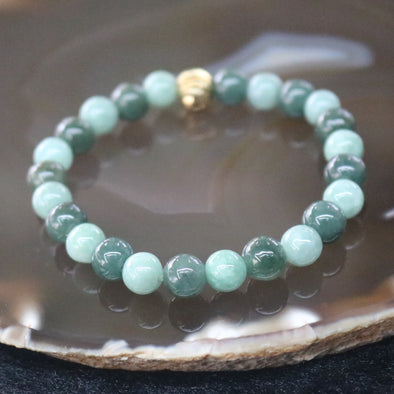 Type A Burmese Jade Jadeite Beads Bracelet -18.58g 7.4mm/bead 24 beads