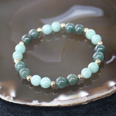Type A Burmese Jade Jadeite Beads Bracelet -16.14g 7.4mm/bead 20 beads