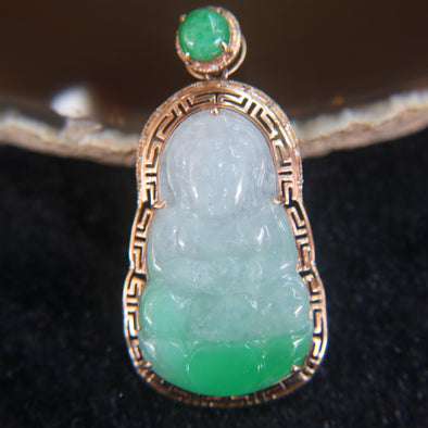 Type A Guan Yin Jade Jadeite set in 18k 750 Rose gold Pendant
