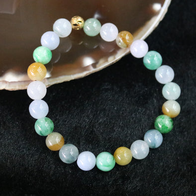 Type A Burmese Jade Jadeite Mixed Colours Beads Bracelet - 18.67g 7.8mm/bead 23 beads