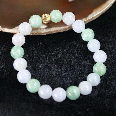 Type A Burmese Jade Jadeite Mixed Lavender & Green Beads Bracelet - 24.31g 8.9mm/bead 19 beads