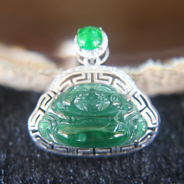 Type A Icy Oily Green Milo Laughing Buddha Jade Jadeite set in 18k 750 White gold Pendant 2.2g 19.9 by 20.1 by 7.0mm