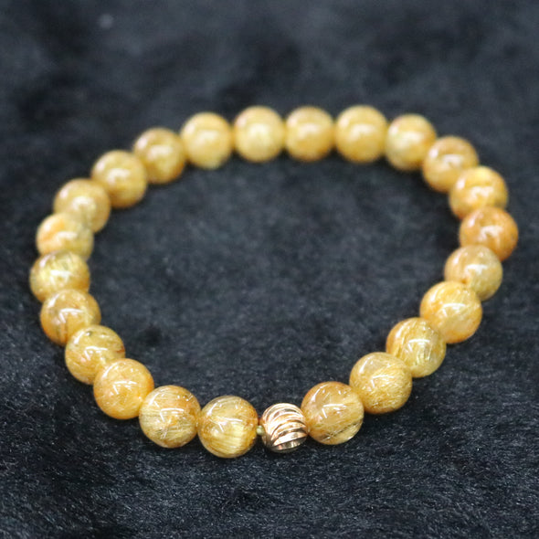 Natural Golden Rutilated Quartz Crystal Beads Bracelet - 22.07g 8.9mm/bead 23 beads