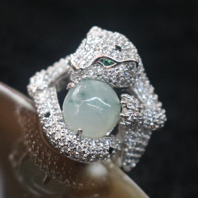 Icy Type A Burmese Jade Jadeite Cheetah Ring set in 925 Sliver and Zircon - 14.02g