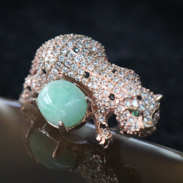 Icy Type A Burmese Jade Jadeite Cheetah Ring set in 925 Sliver and Zircon - 10.68g